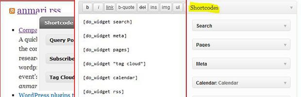ساخت کد میانبر برای ابزارک وردپرس Shortcode Any Widget