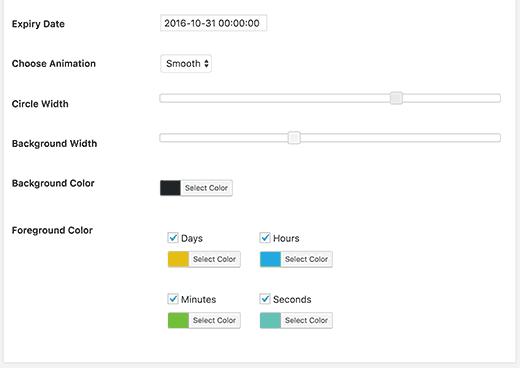 تنظیمات رنگ افزونه شمارش معکوس انیمیشنی در وردپرس