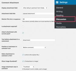 تنظیمات افزونه پیوست کردن فایل به دیدگاه ها در وردپرس