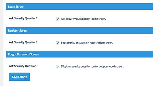 گزینه های فعال سازی سوال امنیتی در صفحات وردپرس