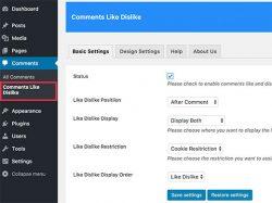 تنظیمات افزونه لایک کردن دیدگاه ها در وردپرس