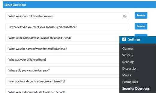 تنظیمات افزونه اضافه نمودن سوال امنیتی در وردپرس