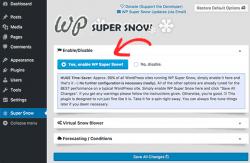 تنظیمات افزونه افزودن بارش برف در وب سایت وردپرس