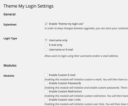 تنظیمات افزونه ی صفحه و ابزارک ورود در وردپرس