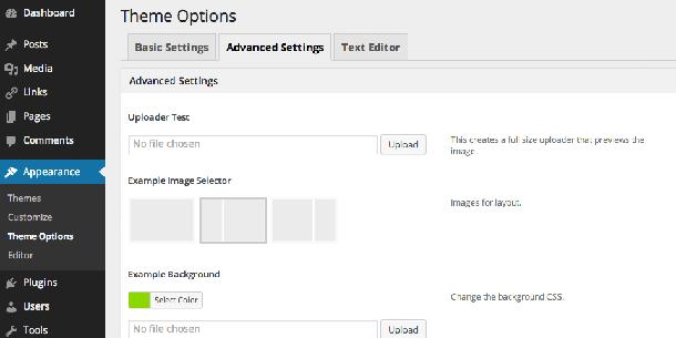پیش نمایش پنل تنظیمات قالب وردپرس